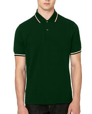 New Mens Polo Shirt Short Sleeve Plain Top Designer Twin Contrast Tip Collar