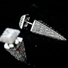 White Gold Filled Micro Setting Cubic Zirconia Bullet Reversa Stud Earring XE100