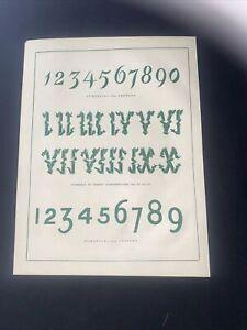 1859 Alphabet Print Victorian Gothic Wallpaper Design Ornate Antique Original