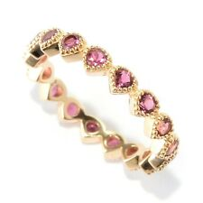 14K Yellow Gold Over Ster Silver 0.8ctw Pink Tourmaline Ring, Size 7