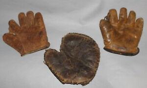 Antique Vintage Lot of 3 Baseball Gloves Spalding, Marathon, Sewn Web