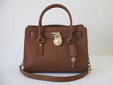 Michael Kors Hamilton Saffiano Luggage Brown Leather Medium Handbag Satchel