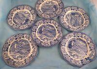 Set of 6 Salad Plates Royal Warwick Lochs of Scotland Blue Transfer Dinnerware