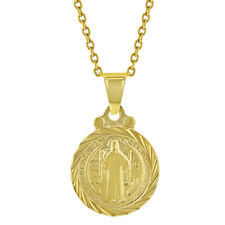 """18k Gold Plated San Benito St Saint Benedict Small Medal Kids Necklace 16"""""""