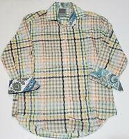 Thomas Dean Multi-Color Plaid Button Down Paisley Flip Cuff Shirt Mens L