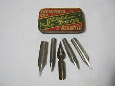 Eagle Pencil Co. Steel Pens Tin & Various Fountain Pen Nibs Lot   T*