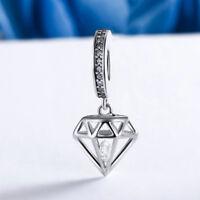 Clear CZ Pave .925 Sterling Silver Charm Pendant fit Bracelet/Necklace Chain