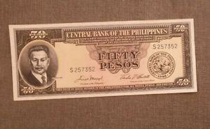Philippines 50 Pesos P138 1949 Flag Scene Of Blood UNC Money Bill Bank Note