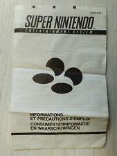 SNES Super Nintendo - Information et précaution d'emploi (notice FAH 3)