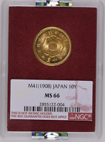 Japan Gold 10 Yen 1908 | NGC MS66 Ex. Ministry of Finance!