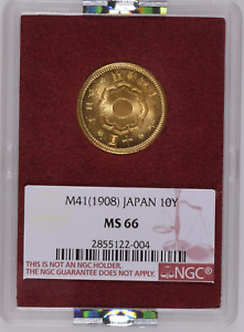Japan Gold 10 Yen 1908   NGC MS66 Ex. Ministry of Finance!
