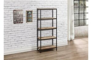Rustic Industrial Chic 5 Tier Bookcase With Metal Frame And Wood Finish