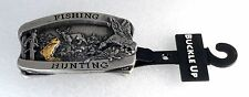 """HUNTING & FISHING"" 40 MM Mens Brass Metal ""Buckle Up"" Belt Buckle NWT 40mm"