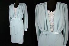 Vtg 80s Pearl Sequin Petal Hem Tiers Skirt Crepe Chiffon Party Dress L Unworn