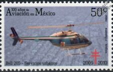 BELL 205 Helicopter Aircraft Stamp (100 Years of Aviation in Mexico)