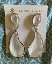 NWT Kendra Scott Teddi Earrings In White Ivory MOP Silver $150.00