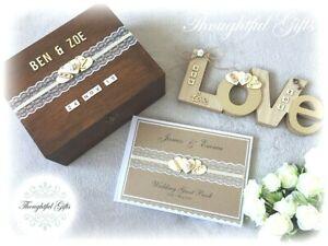 Rustic Personalised Wedding Guest Book/ Wooden Keepsake/ Post Box + Love Sign