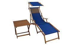 Lit Soleil Bleu Fauteuil de Plage Terrasse en Bois Chaise Longue Table Coussin