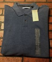 Geoffrey Beene Long Sleeve Striped Polo Shirt Men's Size XXL NWT