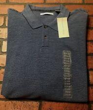 Geoffrey Beene Long Sleeve Striped Polo Shirt Men's Size XXL NWT