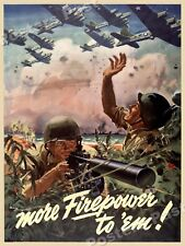 1943 More Firepower to 'Em! Vintage Style WW2 Poster - 20x28