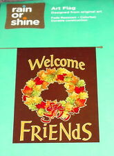 """New listing Welcome Friends Large 28"""" x 40"""" Garden Flag, Fall, Autumn Leaves Wreath Nip"""
