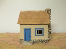 Folk Art Handmade Wood Lighted Cottage / Cape Cod House / Cabin - Stone Chimney