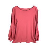 LOFT Cold Shoulder Knit Top Size Small Pink Bishop Long Sleeve Boat Neck Shirt