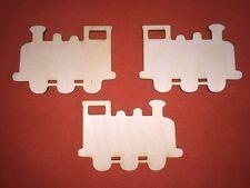3 x train en bois forme de plaques plaine pendaison embellissements Craft tag