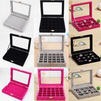 Velvet Glass Jewelry Ring Display Organizer Case Holder Earring Storage Box Xmas