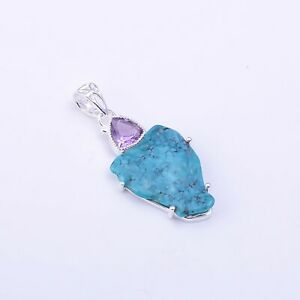925 Sterling Silver Pendant, Raw Turquoise Handmade Designer Jewelry RSP1208