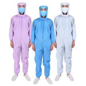 Protective Coverall Suit Isolation Gown Hooded Overall Doctor Scrubs Medical Lab