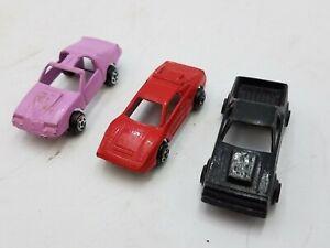 3 Piece Tootsie Toy Metal Mini Car Lot Pink Camaro Black Camino Red Ferrari 1:87