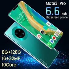 "Mate 31 Pro Smart Phone 6.6"" 2k Full Screen 10 Core 8+128GB Smartphone 3G"
