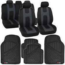 Rome Sport Seat Covers Set Front & Rear Stripes Charcoal plus FlexTough Mats