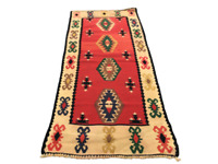 Vintage Runner Rug Turkish Kilim Wool Anatolian Oushak Bohemian Handmade 2x4