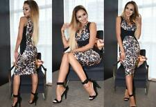 Ladies Brown/Black Leopard/Animal Print V Neck Bodycon Midi Dress..Size 6-8