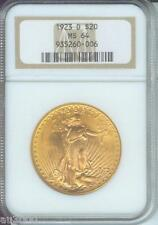 1923-D $20 ST. GAUDENS DOUBLE EAGLE NGC MS-64 SAINT MS64 BEAUTIFUL Older Holder