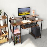 Modern Computer Desk Table With Storage Shelves Home Learning Desk Workstation