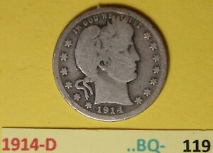 1914-D  US Barber Quarters in Good condition...see Photos