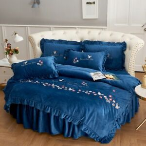 Velvet Bed Sheet Pillowcase Duvet Cover Sets Bed Skirt Embroidery Quilt Cover