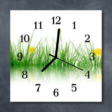 Glass Wall Clock Kitchen Clocks 30x30 cm silent Grass Green
