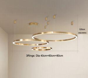 Golden Ring LED Chandelier Three-point Suspension Hanging Light Pendant Lamp New
