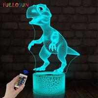 Kids Night Light 3D Illusion Dinosaur Lamp 16 Colors Room Decor Desk Lamps