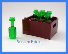 Lego - 6x Green Wine Bottles + Crate - Drink Food Utensil- City, Castle, Pirates