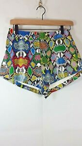 Shein Women's Small Animal Print Front Zipper Multicolored Leather Shorts