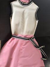 Vintage Barnsville Dress Park Suite Mod Retro Scooter Pink/white 60's Sleeveless