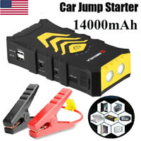 14000mAh 12V Car Jump Starter Dual USB Power Bank Battery Booster Clamp WW