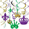 Mardi Gras Foil Swirl Hanging Decorations Birthday Party Supplies New Orleans 12