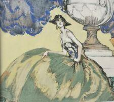 DOMERGUE J.G- Rare et charmante petite lithographie couleur Art Déco , encadrée